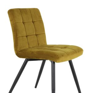 Ochre Quilted Velvet Dining Chair