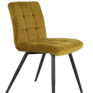 Ochre Quilted Velvet Dining Chair