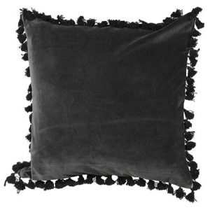 Black Velvet Cushion with Tassels