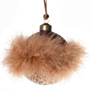 Brown Feather & Glitter Bauble