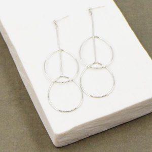 Oval Dangle Earrings on a Snake Chain