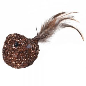 Clip on Bird in Gold with Glitter