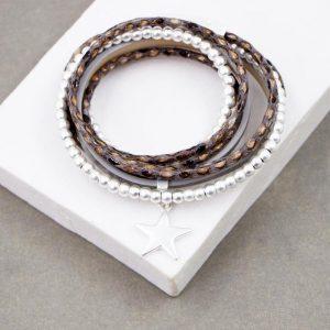 Beaded Multi Strand Cuff Bracelet