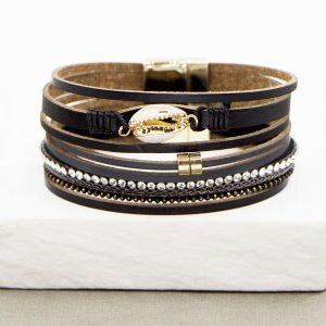 Multi Strand PU Bracelet with Shell Shape Feature