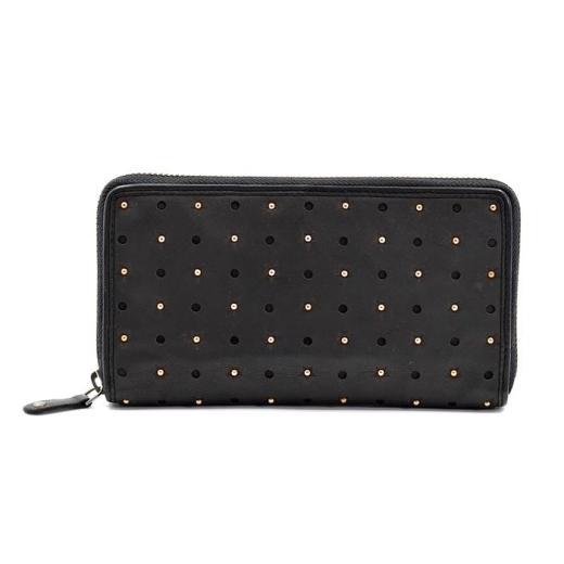 Black Leather Star & Stud Purse