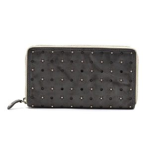 Stone Grey Leather Star & Stud Purse
