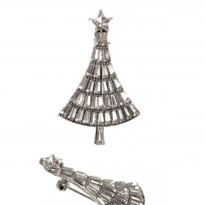Clear Crystal Christmas Tree Brooch