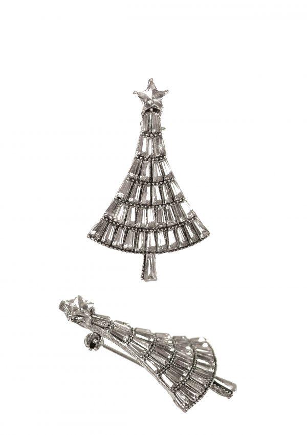 Clear Crystal Christmas Tree Brooch