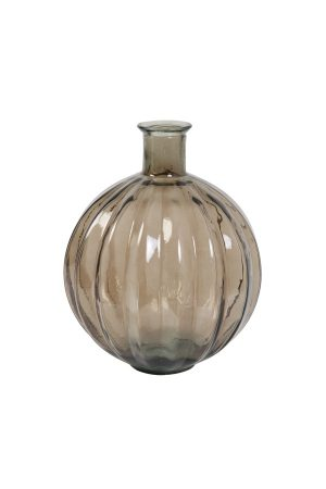 Dark Brown Balloon Ribbed Vase