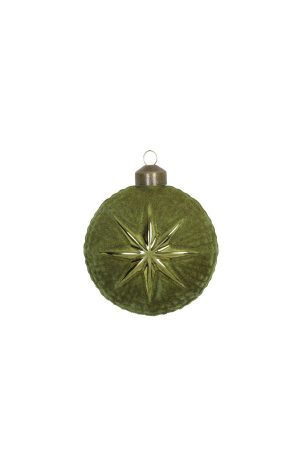 Velvet Olive Star Bauble