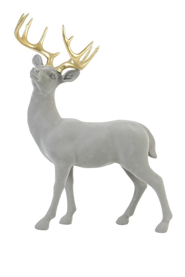 Grey Flocked Velvet Deer Ornament