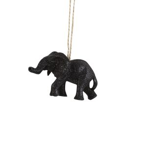 Sparkling Black Elephant Christmas Decoration