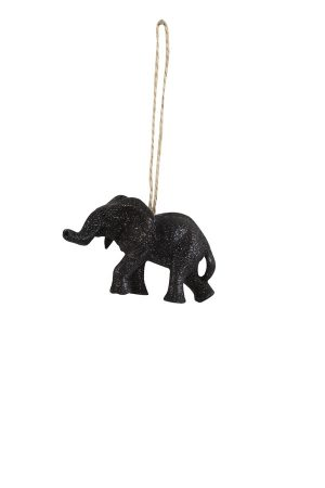 Sparkling Black Elephant Christmas Decoration