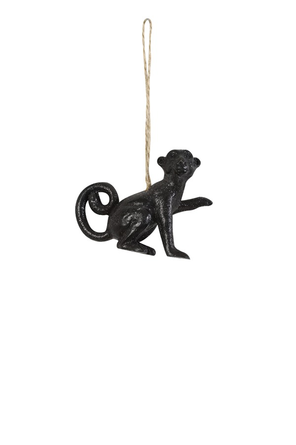 Sparkling Black Monkey Christmas Decoration