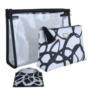 Black & White Set Of Cosmetics Bags & Mirror