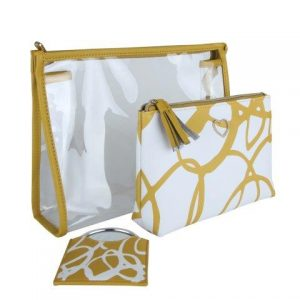 Ochre & White Set Of Cosmetics Bags & Mirror