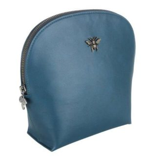 Teal Faux Leather Bee Make Up Bag