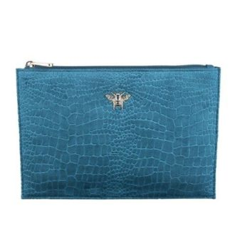 Teal Jeweled Velvet Bee Pouch