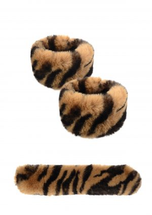 Tiger Print Faux Fur Snap Cuffs