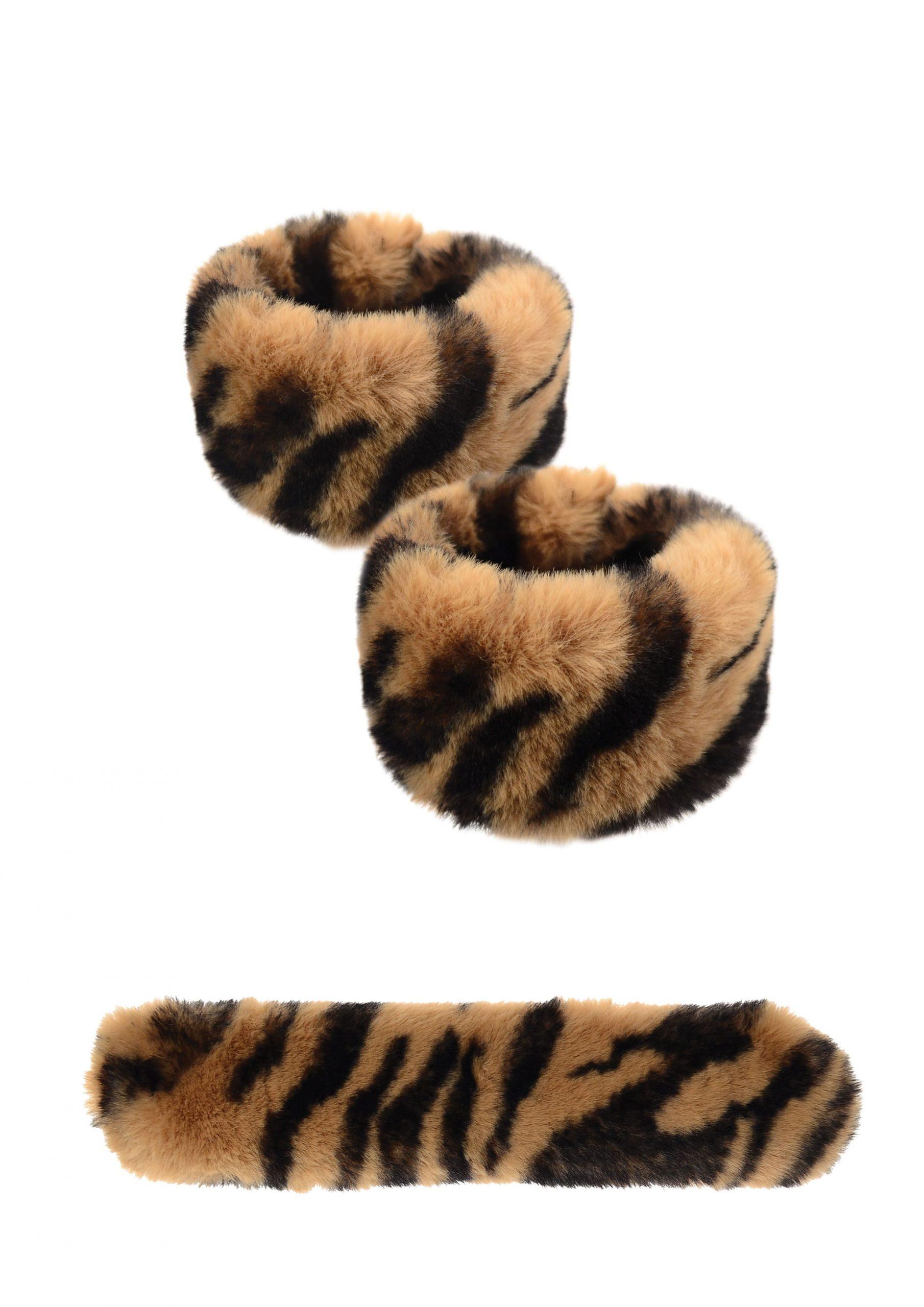 Tiger Print Faux Fur Snap Cuffs