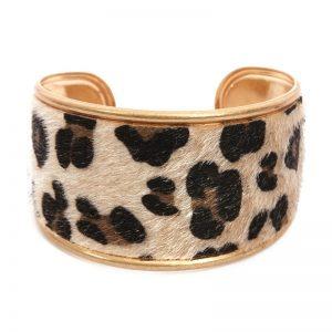 Beige & Gold Leopard Print Metal Bracelet