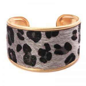 Grey & Gold Leopard Print Metal Bracelet