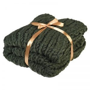 Olive Chunky Iceland Thick Yarn Blanket