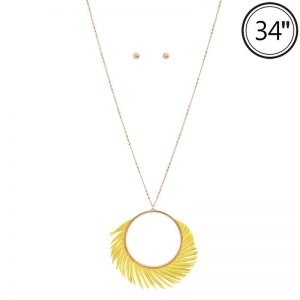 Mustard Catherine Wheel Long Drop Pendant