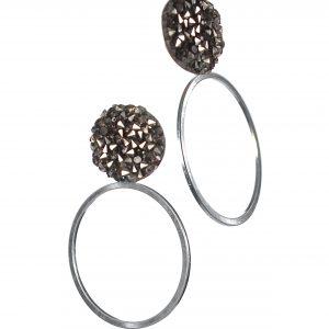 Silver Meteor Stud Earrings with Hula Hoop