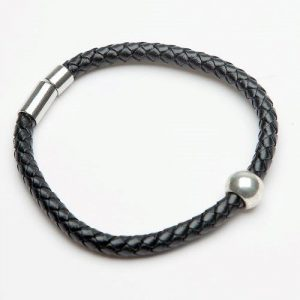 Men's Black Plaited Leather Bracelet with Ball Deco