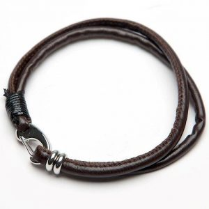 Men's Twin Strand Brown Leather Bracelet