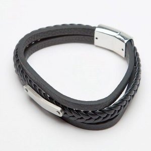 Men's Black Plaited Leather Bracelet