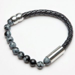 Men's Plaited and Beaded Black Leather Bracelet