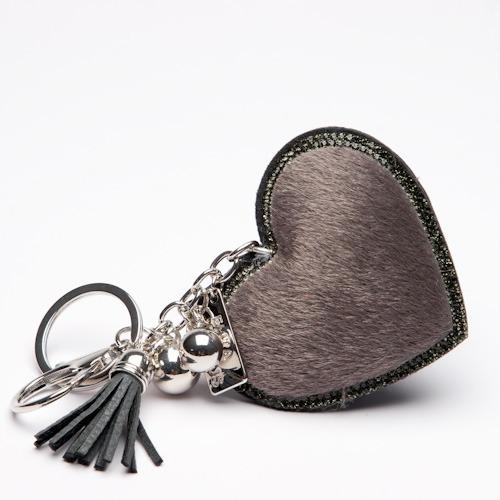 Grey Faux Fur Key Ring