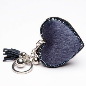 Navy Faux Fur Heart Key Ring