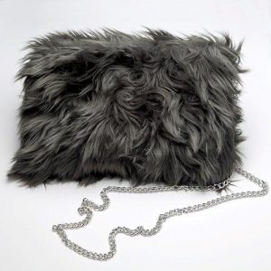 Slate Faux Fur Clutch Bag