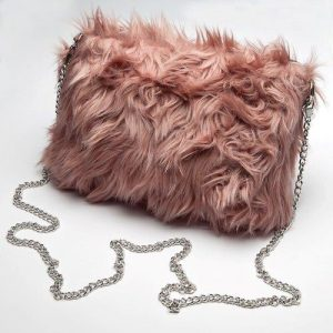 Dusky Pink Faux Fur Clutch Bag