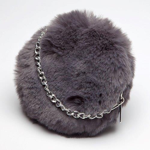 Slate Faux Fur Mini Bag