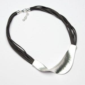 Dark Grey Suede Strand Short Necklace