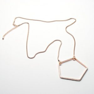 Long Geometric Rose Gold Necklace