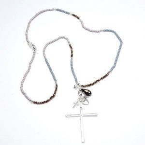 Beaded Silver Cross Necklace