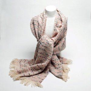 Pink Tweed Effect Scarf