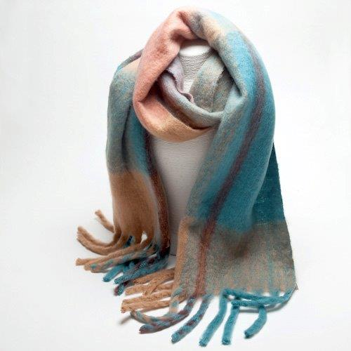 Fringed Teal Checked Wool Scarf