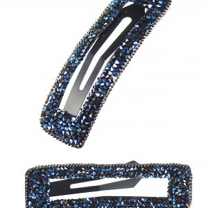 Navy Framed Rectangular Sparkling Hair Clip