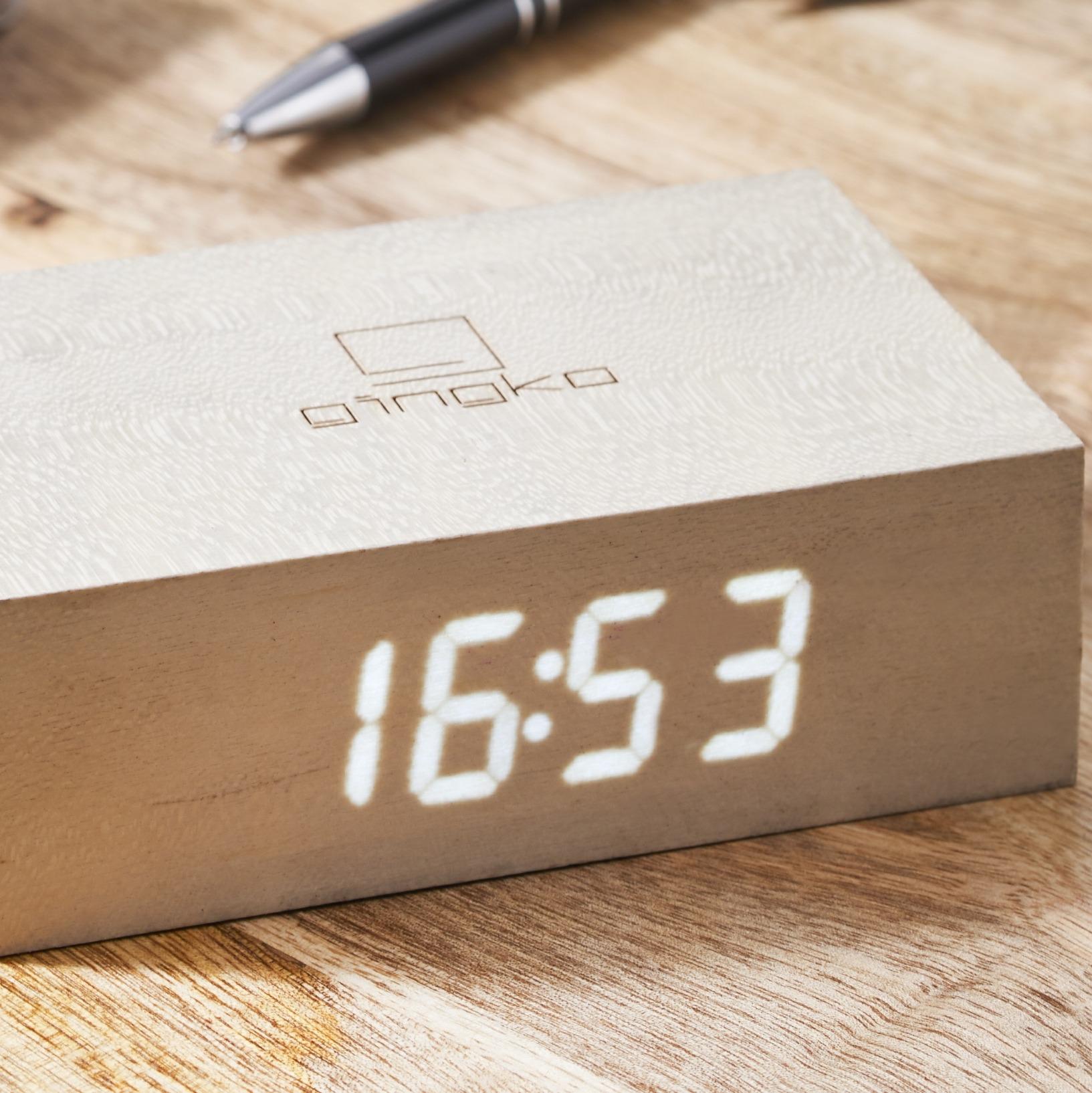 White Maple Flip Click Clock