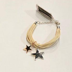Twin Stars Cream Suede Bracelet