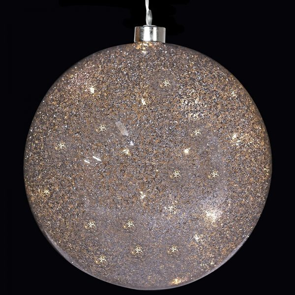 Small Light Up Silver Glitter Ball