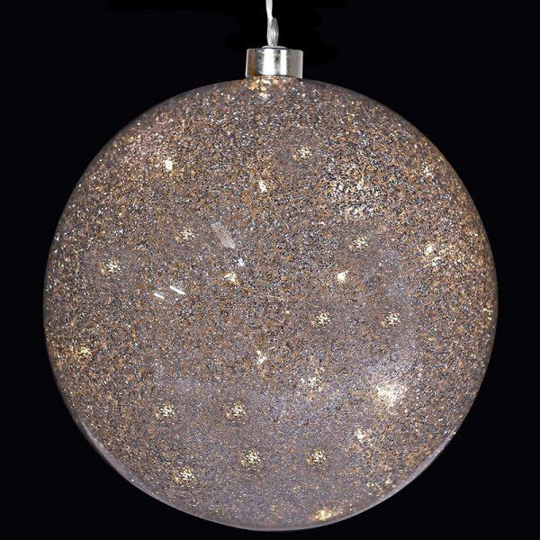 Large Light Up Silver Glitter Ball