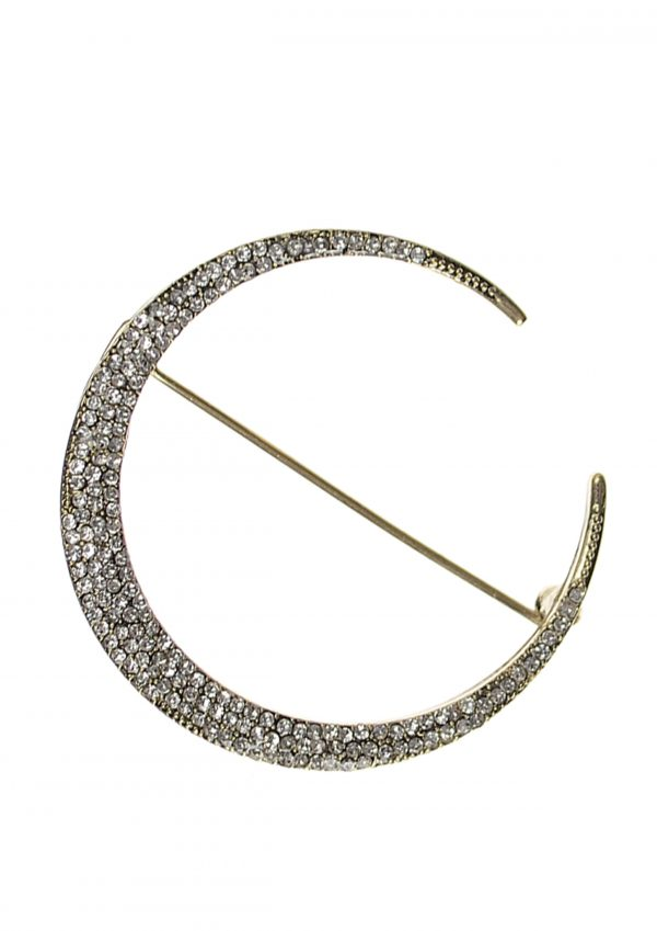 Silver Cresent Moon Brooch