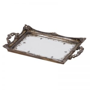Distressed Silver Mirror Tray